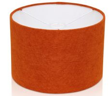 Fine Chenille  Burnt Orange / Rust Linen Style Drum Lampshade